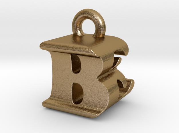 3D Monogram Pendant - BEF1 in Polished Gold Steel