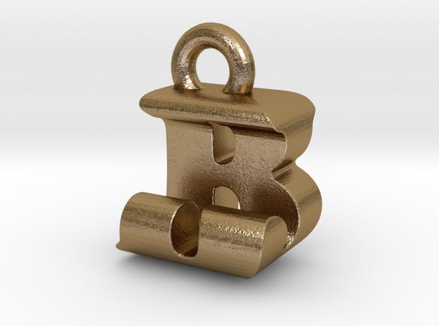 3D Monogram Pendant - BJF1 in Polished Gold Steel