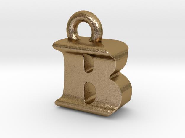 3D Monogram Pendant - BIF1 in Polished Gold Steel