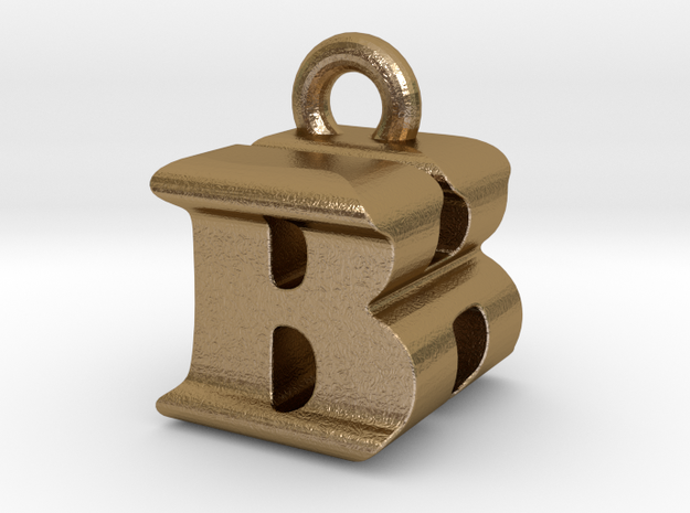 3D Monogram Pendant - BHF1 in Polished Gold Steel