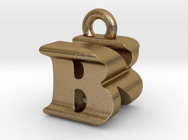 3D Monogram Pendant - BNF1 in Polished Gold Steel