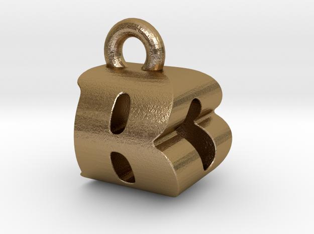 3D Monogram Pendant - BOF1 in Polished Gold Steel