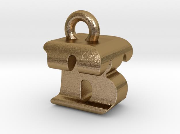 3D Monogram Pendant - BTF1 in Polished Gold Steel
