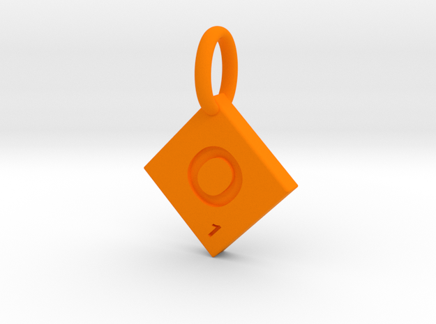 SCRABBLE TILE PENDANT  O  in Orange Processed Versatile Plastic