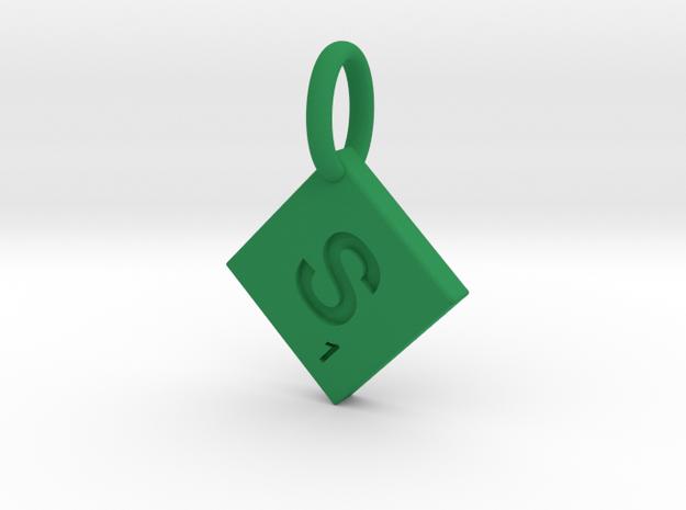 SCRABBLE TILE PENDANT  S  in Green Processed Versatile Plastic
