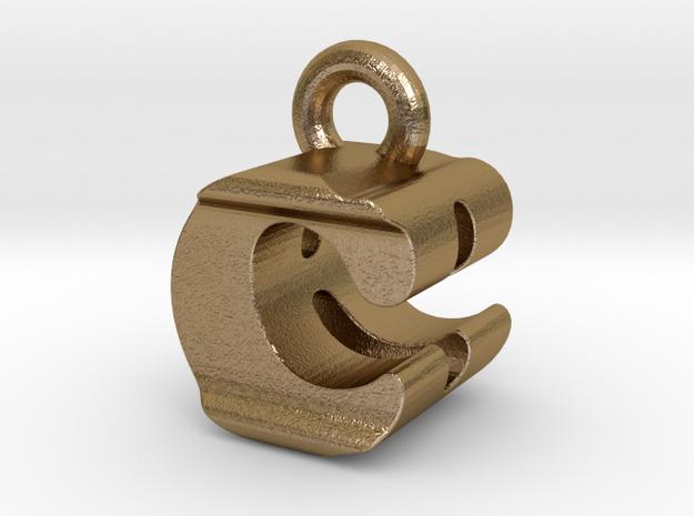 3D Monogram Pendant - CBF1 in Polished Gold Steel