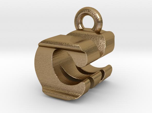 3D Monogram Pendant - CMF1 in Polished Gold Steel