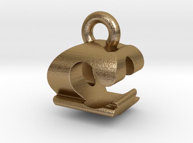 3D Monogram Pendant - CQF1 in Polished Gold Steel