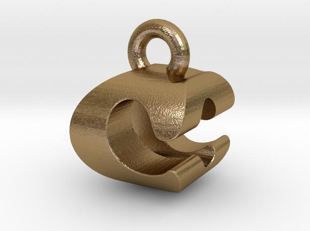 3D Monogram Pendant - COF1 in Polished Gold Steel