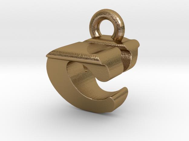 3D Monogram Pendant - CVF1 in Polished Gold Steel