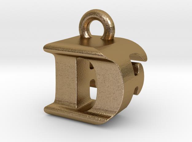 3D Monogram Pendant - DFF1 in Polished Gold Steel