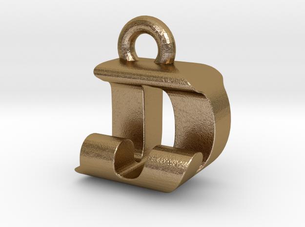 3D Monogram Pendant - DJF1 in Polished Gold Steel