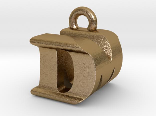 3D Monogram Pendant - DMF1 in Polished Gold Steel