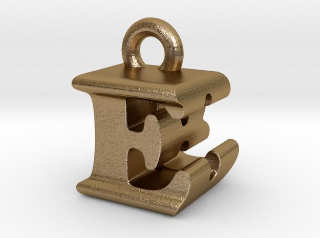 3D Monogram Pendant - EBF1 in Polished Gold Steel