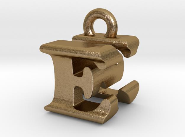 3D Monogram Pendant - ENF1 in Polished Gold Steel