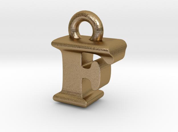 3D Monogram Pendant - FIF1 in Polished Gold Steel