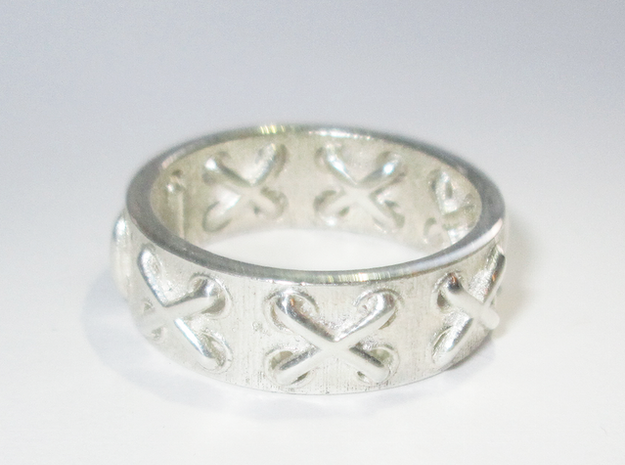 Lace-up Ring - Sz. 5 in Fine Detail Polished Silver