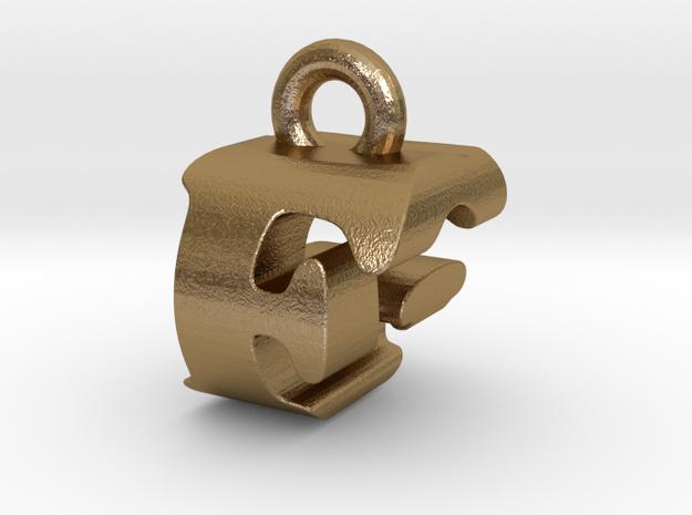 3D Monogram Pendant - FGF1 in Polished Gold Steel