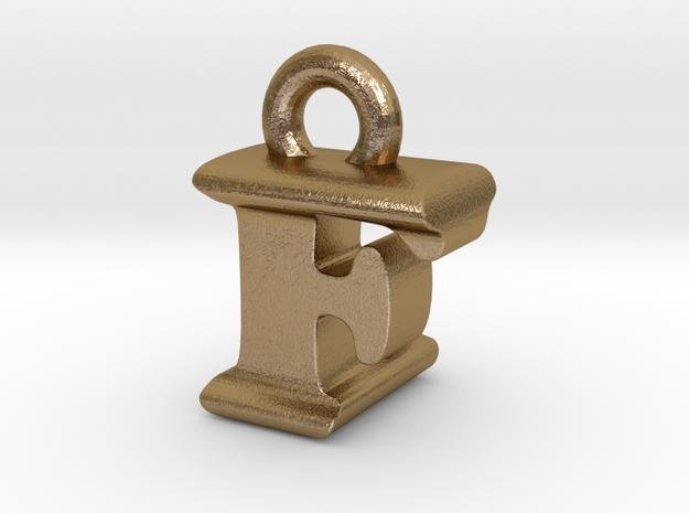 3D Monogram Pendant - FLF1 in Polished Gold Steel