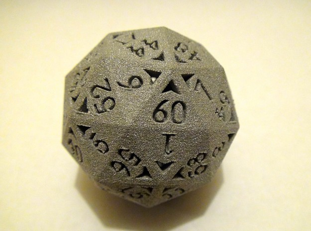 60 Sided Die - Regular 3d printed 60 Sided Die in Alumide