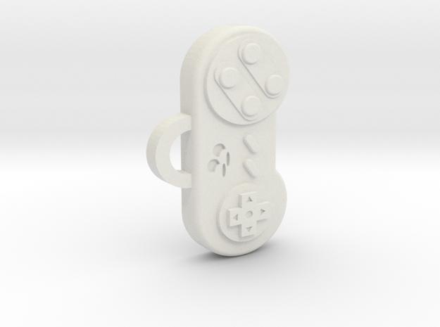 Snes Controller pendant/keychain in White Natural Versatile Plastic