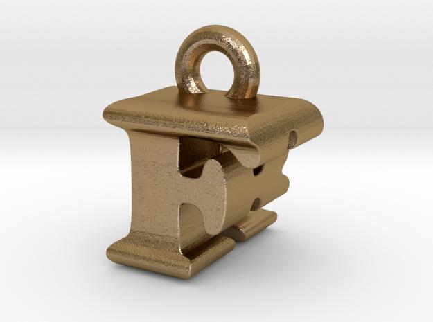 3D Monogram Pendant - FRF1 in Polished Gold Steel