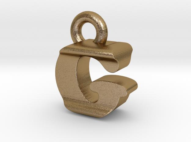 3D Monogram Pendant - GIF1 in Polished Gold Steel