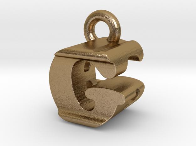 3D Monogram Pendant - GEF1 in Polished Gold Steel
