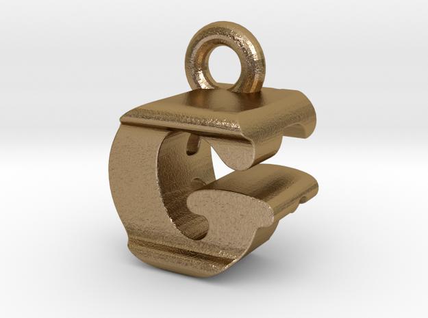 3D Monogram Pendant - GFF1 in Polished Gold Steel