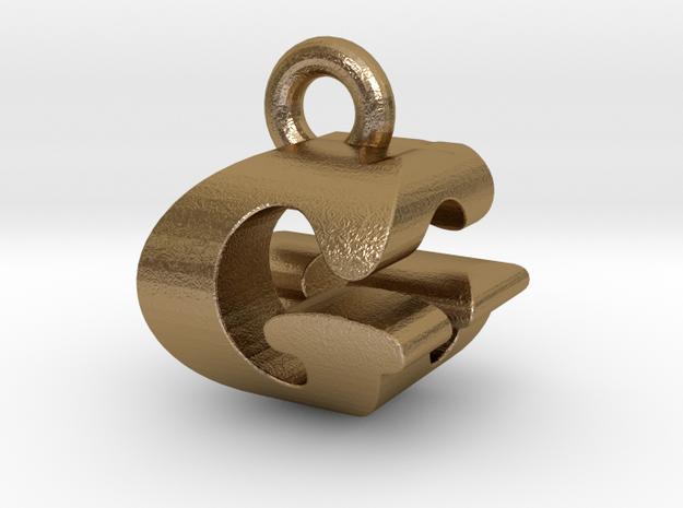 3D Monogram Pendant - GGF1 in Polished Gold Steel