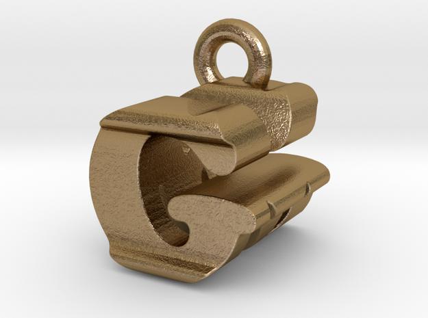 3D Monogram Pendant - GMF1 in Polished Gold Steel