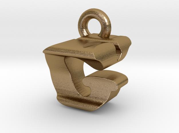 3D Monogram Pendant - GYF1 in Polished Gold Steel
