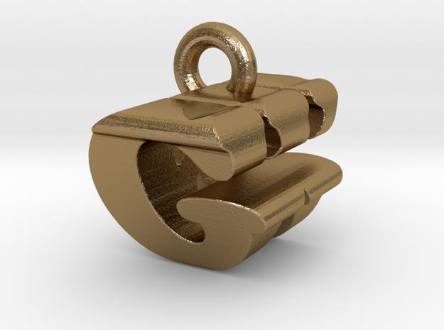 3D Monogram Pendant - GWF1 in Polished Gold Steel