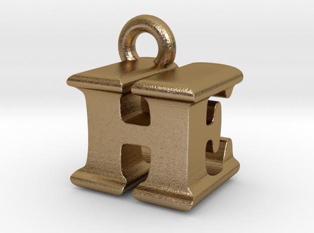 3D Monogram Pendant - HEF1 in Polished Gold Steel