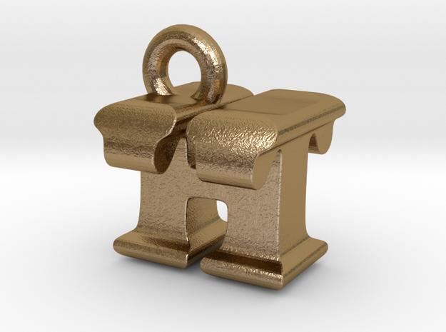 3D Monogram Pendant - HTF1 in Polished Gold Steel