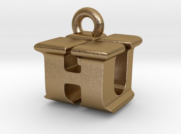 3D Monogram Pendant - HUF1 in Polished Gold Steel