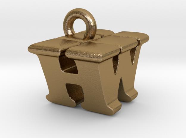 3D Monogram Pendant - HWF1 in Polished Gold Steel