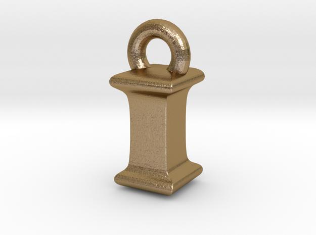 3D Monogram Pendant - IIF1 in Polished Gold Steel
