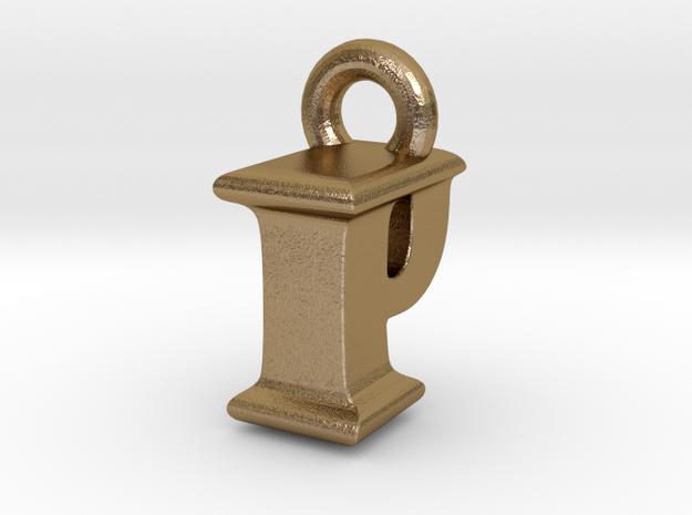 3D Monogram Pendant - IPF1 in Polished Gold Steel