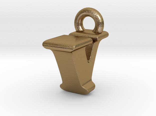 3D Monogram Pendant - IVF1 in Polished Gold Steel