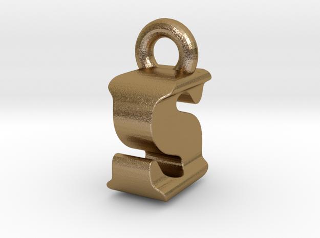 3D Monogram Pendant - ISF1 in Polished Gold Steel