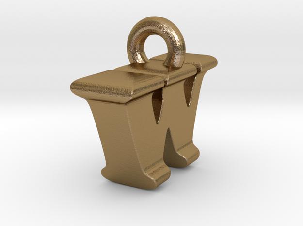 3D Monogram Pendant - IWF1 in Polished Gold Steel