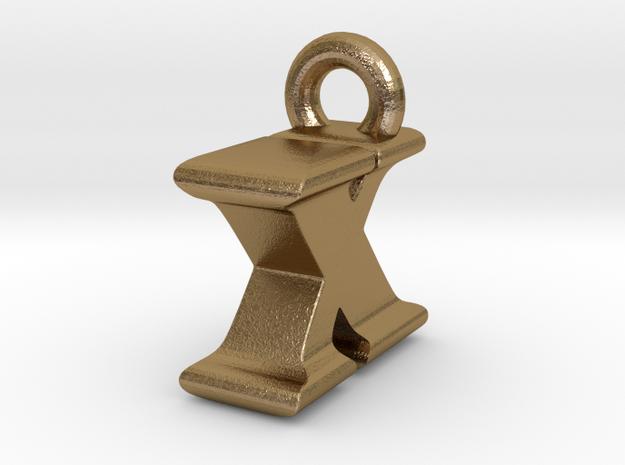 3D Monogram Pendant - IXF1 in Polished Gold Steel
