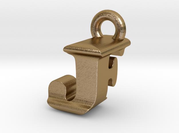 3D Monogram Pendant - JFF1 in Polished Gold Steel