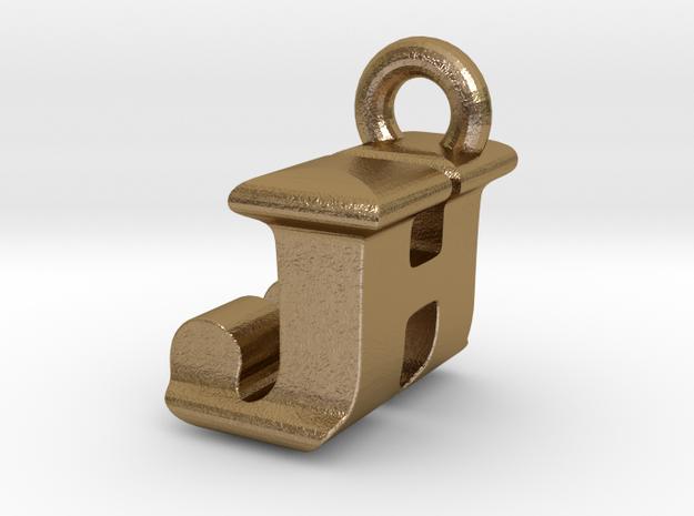 3D Monogram Pendant - JHF1 in Polished Gold Steel