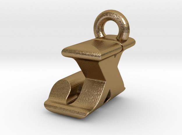 3D Monogram Pendant - JXF1 in Polished Gold Steel