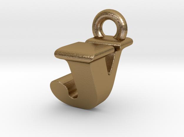 3D Monogram Pendant - JVF1 in Polished Gold Steel