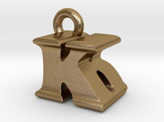 3D Monogram Pendant - KBF1 in Polished Gold Steel