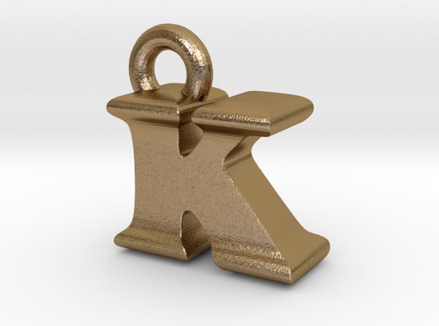3D Monogram Pendant - KIF1 in Polished Gold Steel