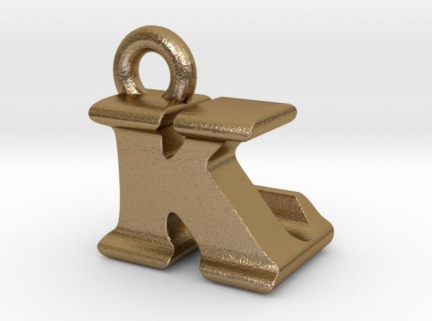 3D Monogram Pendant - KLF1 in Polished Gold Steel